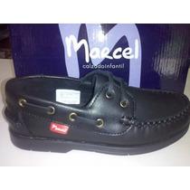 Zapatos Nautico Colegial Marcel Cuero Cosidos Varon 27/33
