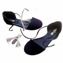 Chatitas Ballerinas En Lona Negra Zapatos Mujer Verano