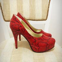 Stilettos Zapatos, Reptil En Rojo , Fiesta ! Plataforma Y Ta
