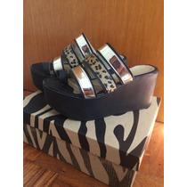 Zapatos Sandalias Con Plataformas Animal Print Doradas