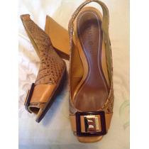 Sandalias Zapatos Amarillos Croco Dumond Peep Toe 38 Febo