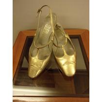 Zapatos De Fiesta Color Dorado Nro 37