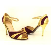Zapatos De Baile Tango Cuero Oro Con Gamuza Obispo