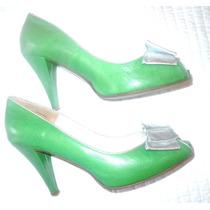 Sandalias Zapatos Boca De Pez Cuero Verde Plateado Fiesta!!