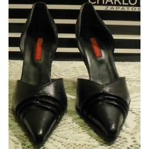 Zapatos De Cuero Negro,charlotte Talle N° 39 Nuevos !