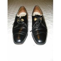 Zapatos De Cuero Acordonados Negro Nº36 Elegantes