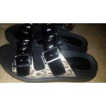 Sandalias Comodas Paruolo! Liquido Negro Print Tachas Oreir
