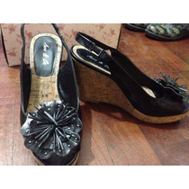 Zapatos De Cuero Con Corcho