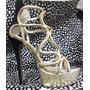 Zapato Sandalia Importado Taco Alto Plataforma Dorado.