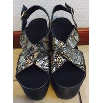 Zapatos Con Plataforma Color Oro En Reptil Verano 2016