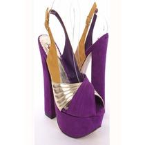 Zapatos Mujer Importados Violeta Oro Taco Y Plataforma 37