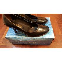 Zapatos De Cuero Negro Para Mujer Taco Alto Viento Y Marea