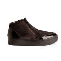 Botitas Zapatillas Panchas Brocato Rasado Negro Diseño Mule