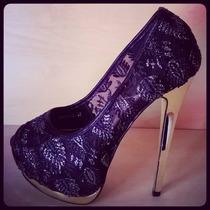 Zapatos Importados Stilettos Tipo Encaje Negro Hot Sale!