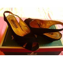 Zapatos Dama Señora N°35 Gamuza Negra Roanne