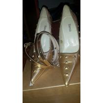 Zapato Cinto Dorado Tachas Importado Español Blanco T Paruol