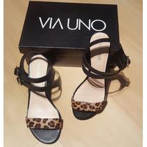 Liquido Zapatos Via Uno Cuero T.38 C/solo 1 Uso !!!