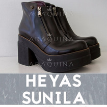 Botas Heyas Sunila Cuero Negro |zapatos Plataforma| Araquina