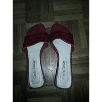 Sandalias Bajas De Cuero Ciruela 37