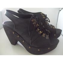 Zueco Zapato Mujer Negro Tachas Plataforma Acordonado 38