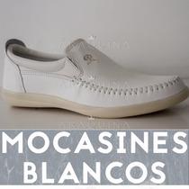 Zapatos Mocasin Cuero Blanco Hombre - Nauticos - Araquina
