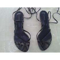 Sandalias Gladiador Negras Chatitas C/taco Bajo N° 38 Viamo