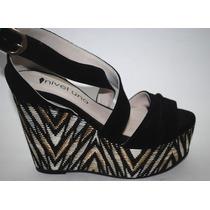 Zapatos De Cuero Gamuza Con Plataforma Tricolor *nuevos*