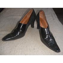 Zapatos Cuero Bottello En Gamuza Y Charol Negro - Muy Finos!