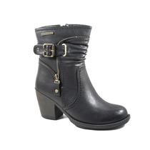 Botas Mujer Invierno Zapatos Chocolate Taco Hebilla 1184