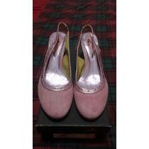 Zapatos Novias/quince Cuero,rosados Gamuza, Importados Unico
