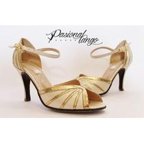Zapatos De Baile Cuero Tornasolado Blanco Con Dorado