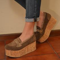 Zapato Mocasín Mujer Cuero Gamuza Negro Y Visón-plataforma!