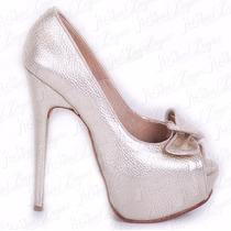 Stiletto Cuero Boca De Pez Con Moño Mod Elba De Shoes Bayres