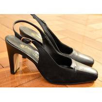 Finos Zapatos Sandalia Clásica De Cuero Y Gamuza Negra!