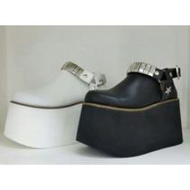 Botas Blanca Y Negra Con Extra Plataforma Recta Y Tachas