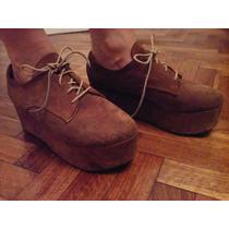 Zapatos De Gamusa Marrón Con Plataforma Y Cordones