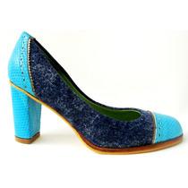 Zapatos Jean Y Cuero Celeste Y Peltre - Frou Frou