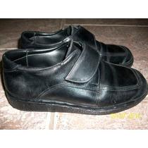 Zapatos De Cuero Con Abrojo Talle 30