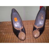 Zapatos De Cuero Con Recortes Nro 36 Taco Medio