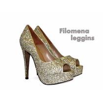 Zapatos Mujer-stilettos-sandalias-glitter-cuero-dorado-negro
