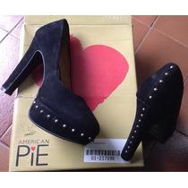 Hermosos Zapatos Gamuza Negra Con Tachas