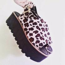 Sandalias Con Plataforma Mujer Animal Print Pelo Piel