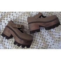 Zapato Mujer Guillermina Taco Madera Combinado Con Goma