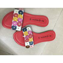 Sandalias De Cuero Con Apliques De Colores