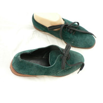 Zapato Acordonado Gamuza Verde Ingles Igual A Nuevo Nº 38
