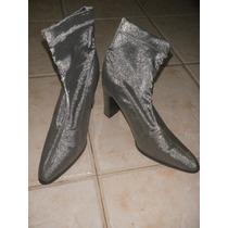 Botas Importadas Caña Elastizada Color Gris Plata Impecables