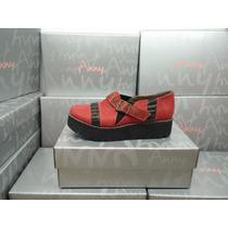 Zapatillas De Mujer Sandalias Anny De Cuero Taco Chino