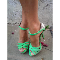 Sandalias Nuevas Stilettos Verde Fluo Importadas Tango Salsa