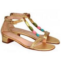 Sandalias Doradas Con Piedras De Colores - Frou Frou