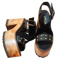 Sandalias Zapatos Plataforma Madera Cuero Pelo Tachas Negro